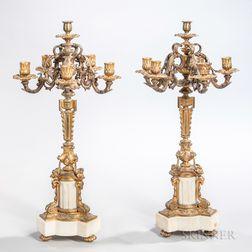 Pair of Louis XV-style Gilt-bronze Five-light Candelabra