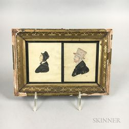 Framed Watercolor Double Profile Portrait Miniature of a Man and Wife