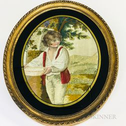 Framed Watercolor Needlework Picture of a Boy