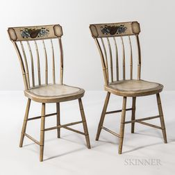 Pair of Gray-painted and Paint-decorated Tablet-back Chairs