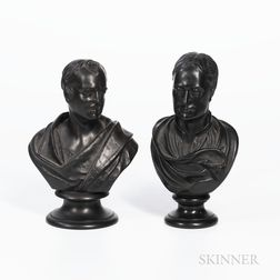 Two Wedgwood Black Basalt Busts