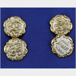 Antique 18kt Gold and Enamel Cufflinks
