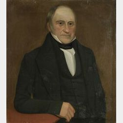 Attributed to Ammi Phillips, American, 19th Century  Portrait of Samuel Hunt.