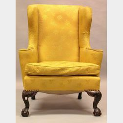 Chippendale-style Upholstered Carved Mahogany Easy Chair.