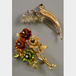 Two Gold Floral Brooches