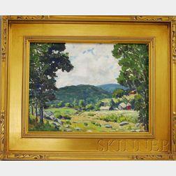 Edgar Otis Miner (American, 1915-2003)      Landscape with Farm.