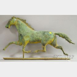 Patinated Molded Copper Running Horse Weather Vane