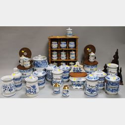 Group of Blue and White-decorated Kitchen Ware and Accoutrements