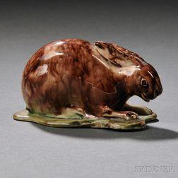 Staffordshire Cream-colored Earthenware Model of a Rabbit