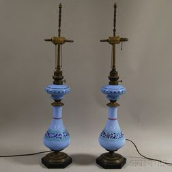 Pair of Periwinkle Blue Opaline Glass Lamps