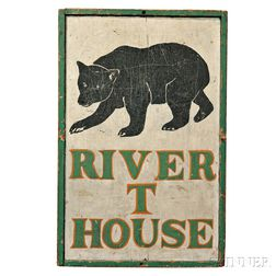 """Paint-decorated """"RIVER T HOUSE"""" Sign"""