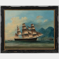 Ye Chung (China, act. Mid-19th Century)      Portrait of the Clipper Ship Sancho Panza   off Hong Kong
