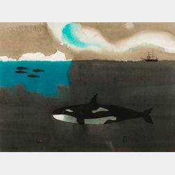 Claus Hoie (Norwegian/American, 1911-2007)      Orca and Aurora Borealis