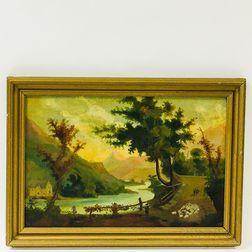 American School, 19th Century       Mountainside River Scene