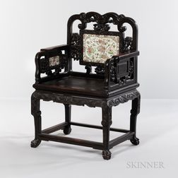 Carved Hardwood Armchair with Porcelain Plaques