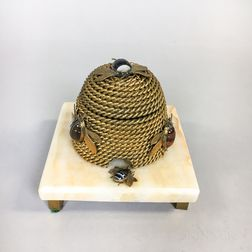 Gilt-brass and Hardstone Bee Skep-form Inkwell