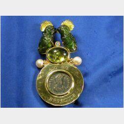 18kt Gold, Gem-set and Diamond Brooch