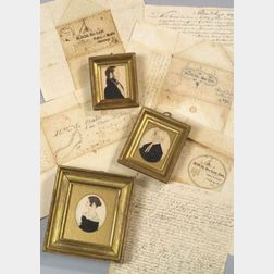 Justus DaLee (New York, Massachusetts, and Connecticut, c. 1826-1847) Three Miniature Portraits, c. 1835, of DaLees Family; and Seven