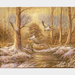 Unframed Oil on Canvas of Ducks in Flight