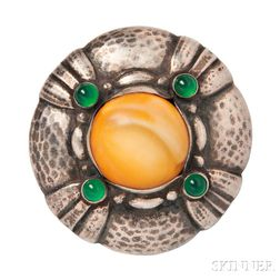 .830 Silver, Amber, and Green Onyx Brooch, Georg Jensen