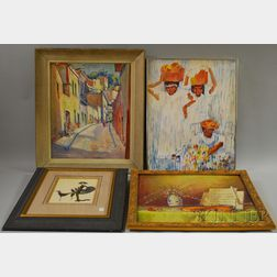 Four Assorted Framed Works:   Charles Theadore Allenbrook (American, b. 1905), Village Street Scene
