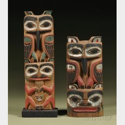 Two Polychrome Carved Wood Totem Poles