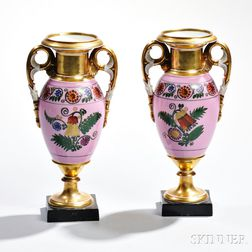 Pair of Empire-style Limoges Porcleain Vases