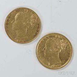 1873-S and 1887-S British Queen Victoria Gold Sovereigns.     Estimate $400-600