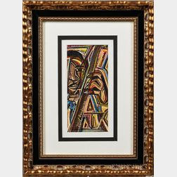 Floyd Gordon (American, 20th/21st Century)   Watercolor on Paper Depicting a Man with a Guitar