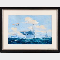 Worden Wood (American, 1880-1943)    A Biplane and Naval Fleet