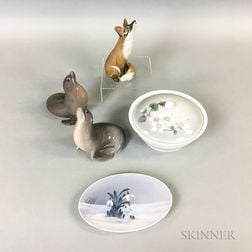 Three Royal Copenhagen Porcelain Animals, a Dish, and a Covered Bowl