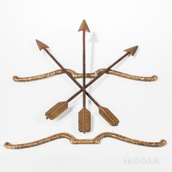 Three Carved and Painted Odd Fellows Arrows and Two Bows