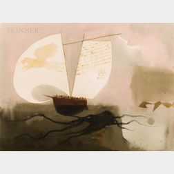 Claus Hoie (Norwegian/American, 1911-2007)      Three Works on Paper: Page 26 of the Log of The Whaler Helena, Shore Leave