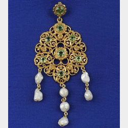 14kt Gold, Peridot and Freshwater Pearl Lavaliere