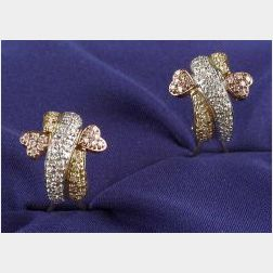 18kt Tri-color Gold and Diamond Earrings