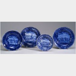 Four Blue Transfer Decorated Staffordshire Plates