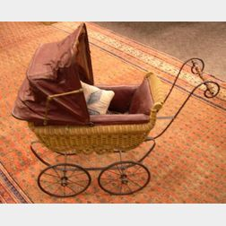 Natural Wicker Doll Carriage