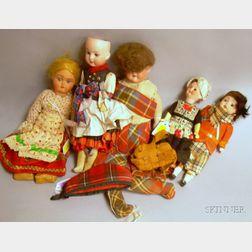 Five Bisque Costume Dolls