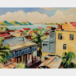 Christina Bauer (American, 1909-1996)      Rooftops/A Nomean, New Caledonia, Landscape