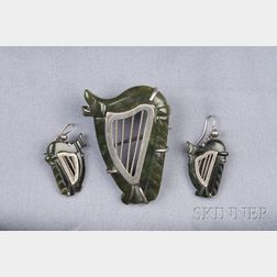 Silver and Green Hardstone Celtic Harp Suite