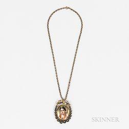 Antique Gold and Enamel Locket Pendant