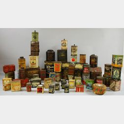 Approximately Forty-nine Chromolithographed Tin Retail Tea and Coffee Cans   and Three Chromolithographed Tin Countertop Spice Bins