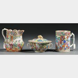 Three Rose Mandarin Decorated Porcelain Items