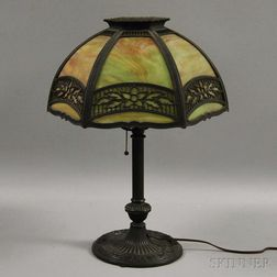 Miller Metal Overlay and Slag Glass Table Lamp