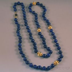 14kt Gold and Lapis Lazuli Bead Necklace