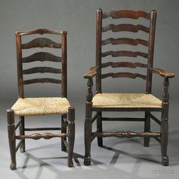 Nine Assembled Georgian-style Elm Ladder-back Chairs