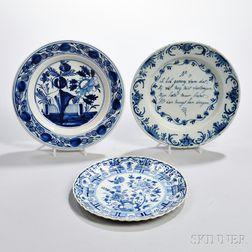 Three Dutch Delftware Blue and White Plates