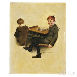 MacLellan, Charles Archibald (1885-1961) Original Oil on Canvas, Illustration of a Redheaded   School Boy.