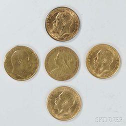 Five British Gold Sovereigns