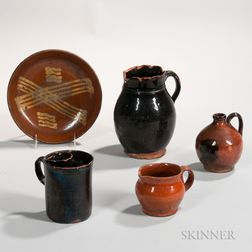 Five Pieces of Glazed Early American Redware